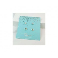 Heart In Circle And Crystal Stud Earring Gift Set