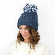 DENIM BLUE/MULTI LARGE POM POM ACRYLIC HAT