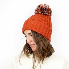 BURNT ORANGE/MULTI POM POM ACRYLIC HAT