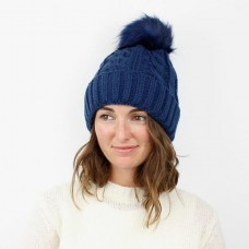 NAVY CABLE KNIT ACRYLIC HAT/NAVY FAUX FUR POM POM