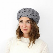 GREY  BERET WITH STARS