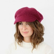 DARK CERISE WOOL BAKER BOY HAT