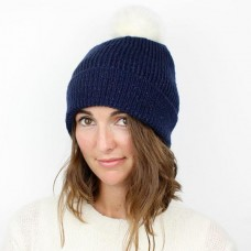 MIDNIGHT LUREX ACRYLIC HAT WITH WHITE FAUX FUR POM POM