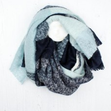 BLUE/AQUA MIX ACRYLIC KNITTED SCARF
