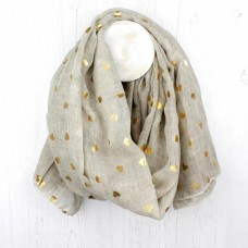 WASHED NATURAL/GOLD FOIL HEART SCARF