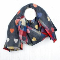 LIGHT GREY/MULTI COLOURED HEARTS WINTER SCARF