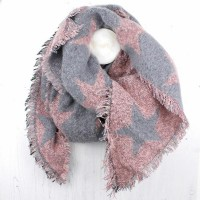 PINK/GREY STARS WINTER SCARF