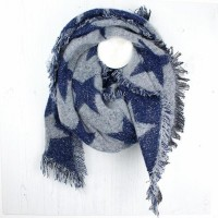 NAVY/GREY STARS KNITTED SCARF