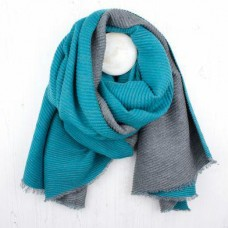 Turquoise Grey reversibe winter scarf