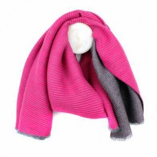 PINK GREY REVERSIBLE PLEATED WINTER SCARF