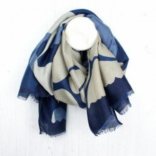 BLUE/TAUPE MIX GRAPHIC SCARF
