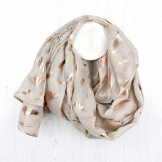 NATURAL/ROSE GOLD FOIL FEATHER SCARF