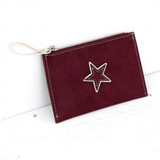 STAR CARD HOLDER/BURGUNDY