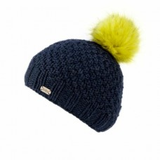 KuSan navy hat with lime faux fur pom pom