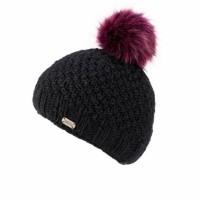 KuSan black hat with plum fur pom pom