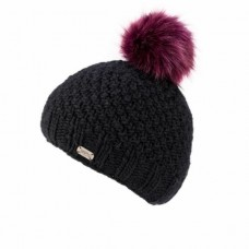 KuSan black hat with plum fur pom pom