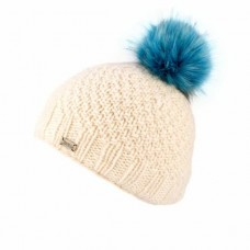 KuSan white hat with blue fur pom pom