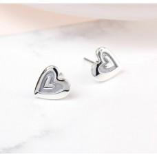 Light Grey Inset Big Heart Stud Earring