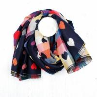 Jaquard hearts scarf navy
