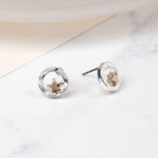 Silver Plated Beaten Circle Rose Gold Star Earrings