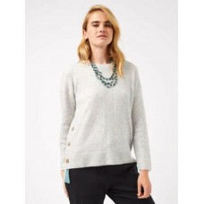 WHITE STUFF cafe button side JUMPER Grey Mix