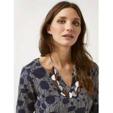 WHITE STUFF Stripe Wood Circle Necklace Launde Blue