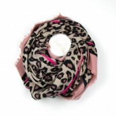 Pink Bordered Animal Print Scarf