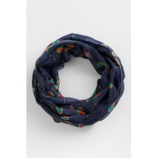 SEASALT CORNWALL Pretty Circle Scarf Painted Leaf Dark Night