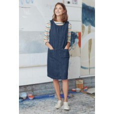 SEASALT CORNWALL Book Seller Pinafore Dress Mid Indigo