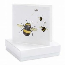 Boxed Bumble Bee Stud Earrings on greetings card