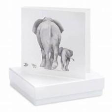 Boxed Elephant Stud Earrings on greetings card