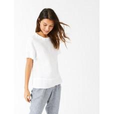 Layla Linen Top White Print