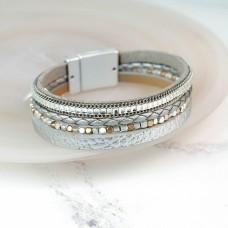 Matt silver multi strand Leather bracelet