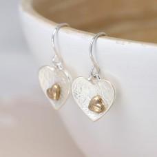 Silver Plated Double Heart Drop Earrings