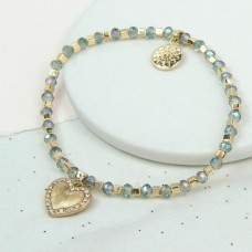 Blue bead bracelet with gold plated heart