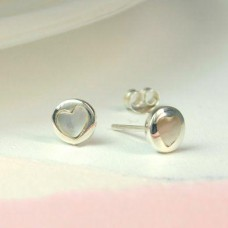 Sterling Silver And Pearl Heart Stud Earrings