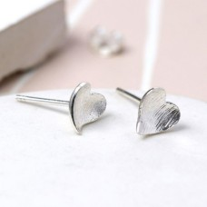 Stirling Silver Concave Heart Studs