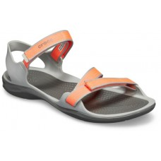 CROCS Womens Swiftwater Webbing Sandal Bright Coral/ Light Grey Was £39.95