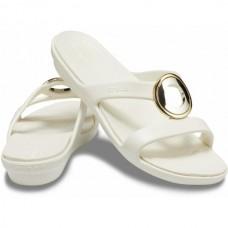CROCS Womens Sanrah Metal Block Sandal Multimetal/Oyster