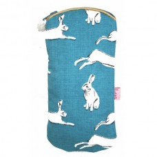 Zipped glasses case turquoise hares