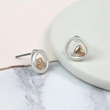 Silver Plated Circle And Rose Gold Heart Earrings