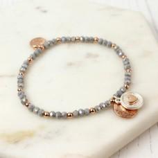 Rose gold scratch disc grey bead bracelet