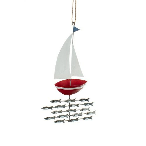 Shoal of fish Under Red Yacht Hanging Decoration