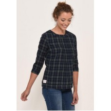 BRAKEBURN Check Blouse Navy  Was £34.95