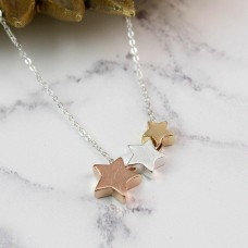 Triple Star Necklace With Brushed Finish