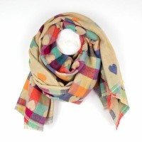Jaquard Hearts scarf cream