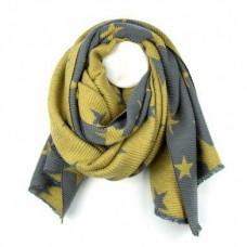 Star reversible crinkle scarf mustard