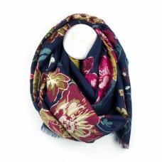Floral/folk print scarf Navy/gold