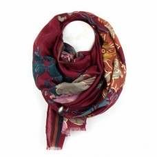 Floral/folk print scarf red