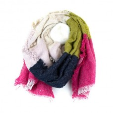 Colourblock winter scarf in bold colours with sequins